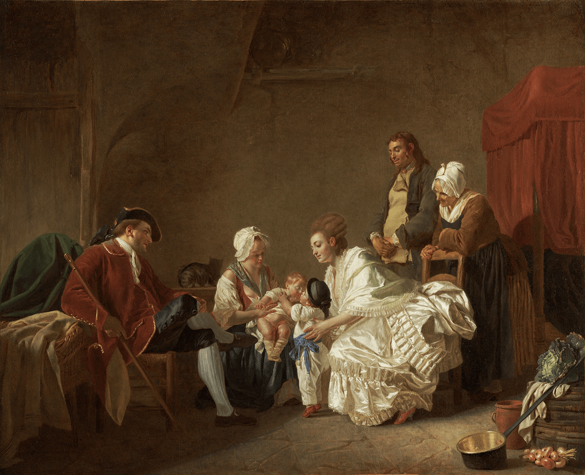An upper class family is visiting their youngest son and his wet nurse in a rustic interior. The two brothers kiss. A peasant and an old woman watch.