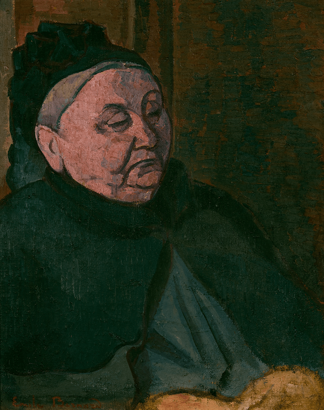 An older woman against a curtained backdrop. Her figure outlined in black and she wears a cloak buttoned at her neck. She wears a hat over her gray hair.