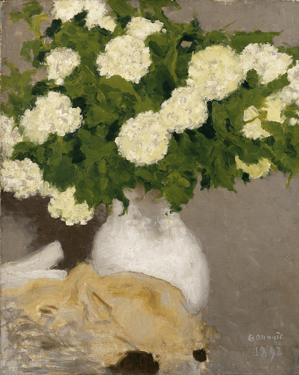 Guelder roses in a white porcelain vase, lying on what is possibly a table next to a piece of beige cloth.