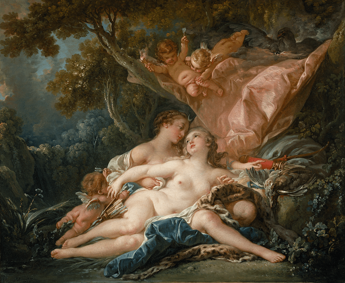 Center rests Callisto in the arms of Jupiter in the guise of Diana with her bow and quiver. Above them are two amours and the eagle of Jupiter.