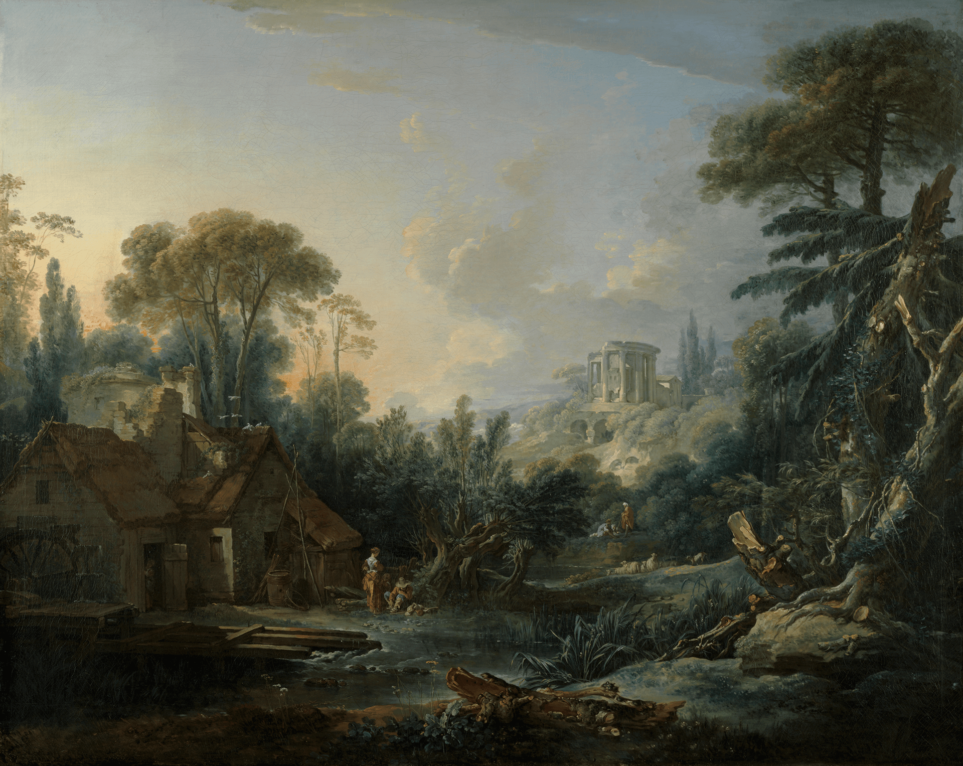 A mill and cottage on the left, stream center with figures, and trees at right. In front of a ruin of classical temple and additional figures.