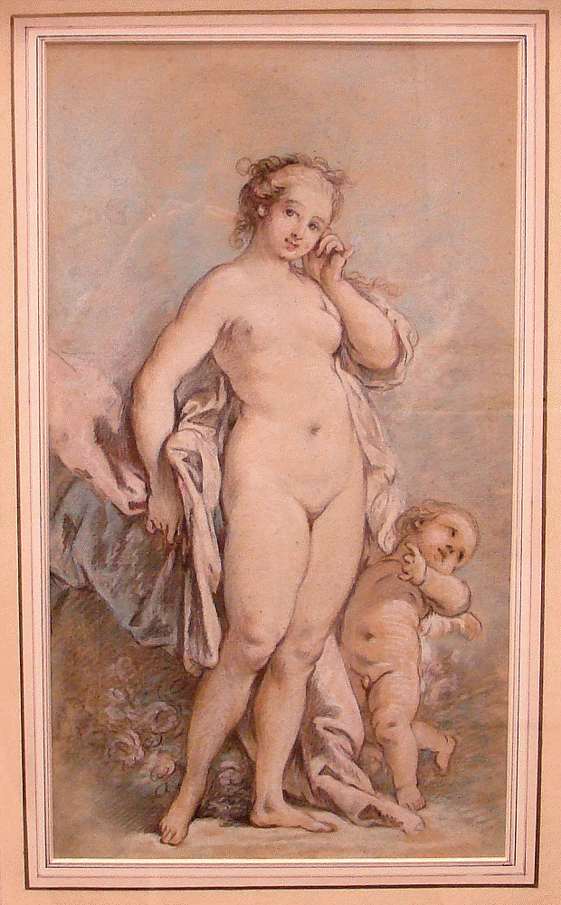 Venus stands nude in center looking out at the viewer with cupid on her right looking into the distance on the right.
