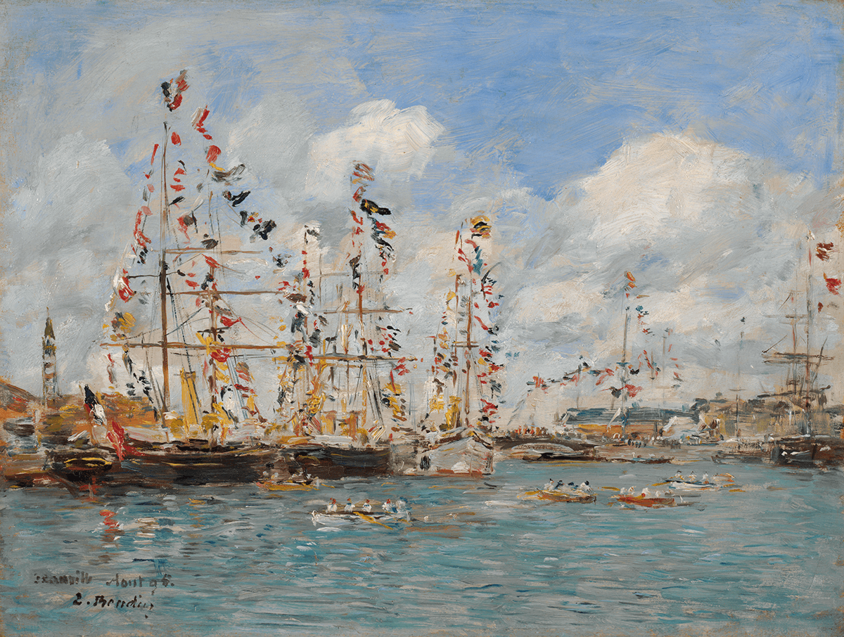 Sailing ships and rowboats manned by groups of figures on a turquoise sea with small waves are backed by the bright blue sky with large white clouds.
