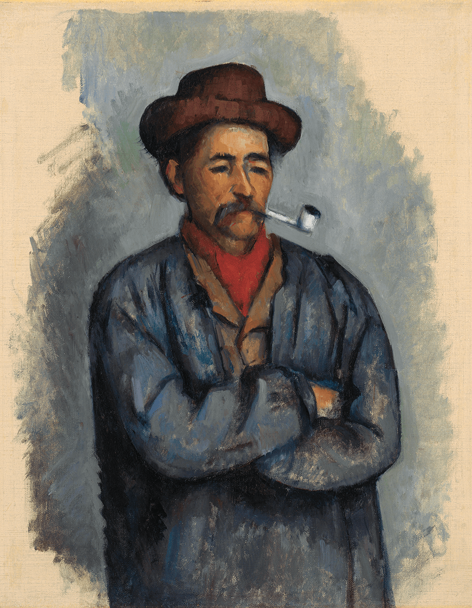 A standing man smoking a pipe with crossed wearing a brown hat and a blue worker's smock over a tan jacket and red cravat.