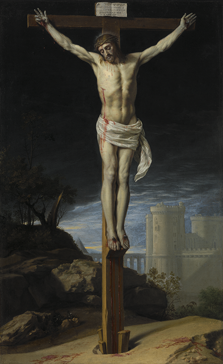 Christ, with head lowered, nailed to cross, against background of dark sky. In the background on the right is a castle and left is a rocky landscape.