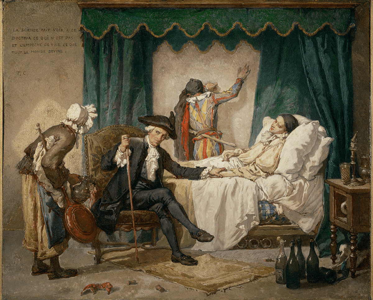 Pierrot lies ill in bed attended by a doctor and a nurse, Harlequin leans against the wall in the background. Bottle and lobster in foreground.