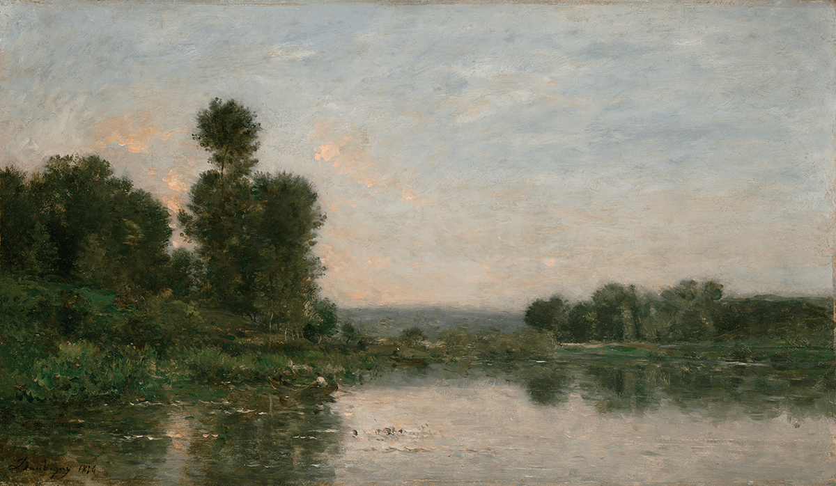 Landscape with water in the foreground, men in rowboat, willow trees in background.
