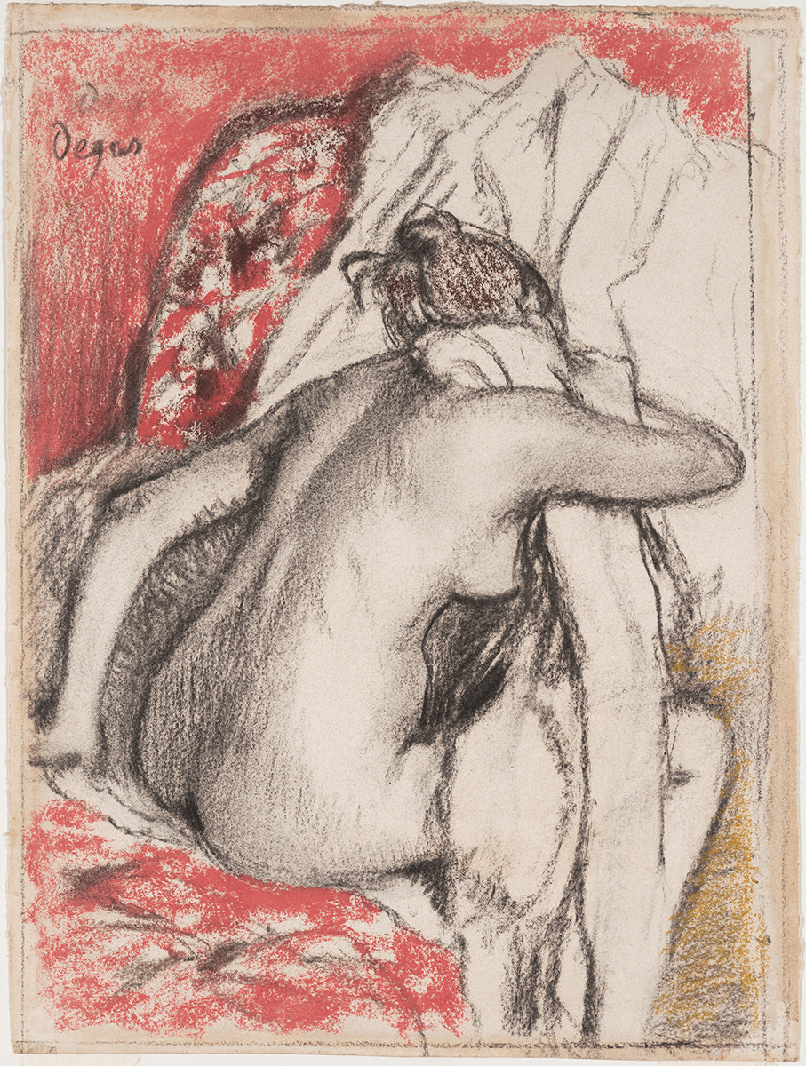 A seated nude seen from behind bends forward and dries her neck with a large towel. The scene is depicted in black, white, and rose.