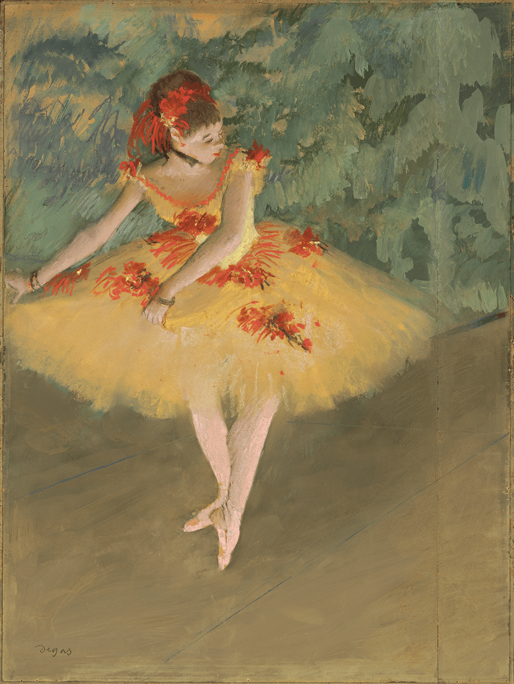 """Illuminated by gas footlights in the midst of a performance, a dancer """"makes points,"""" or draws forms with her pointed foot."""