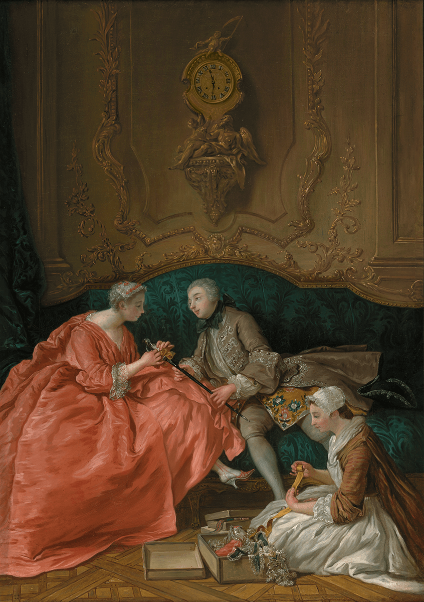A lady in elegant clothes ties a bow on her suitor's sword. The décor is typical of the mid-1700s, a cartel clock adorns the wall.