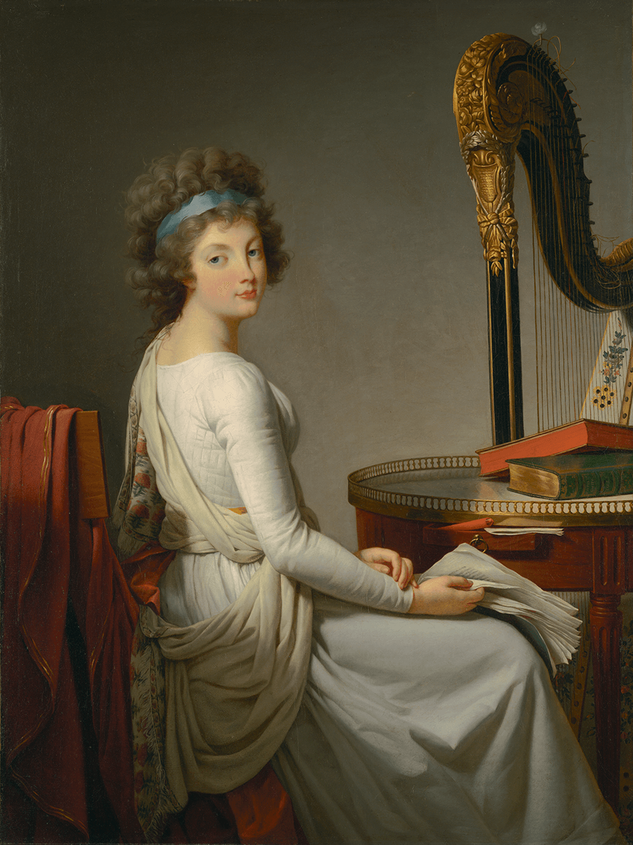 Seated woman in a white dress faces a table and harp, her face turned towards to the viewer. She holds a manuscript, several books are on the table.