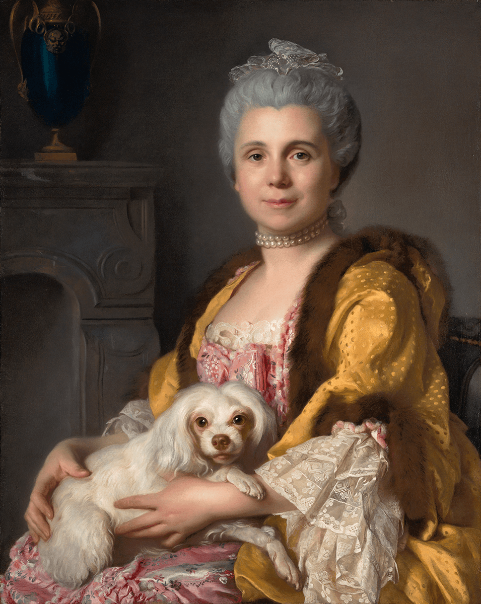A seated gray-haired woman, dressed in pink brocaded gown and gold over-garment holds a white dog on her lap. A stone fireplace can be seen behind.