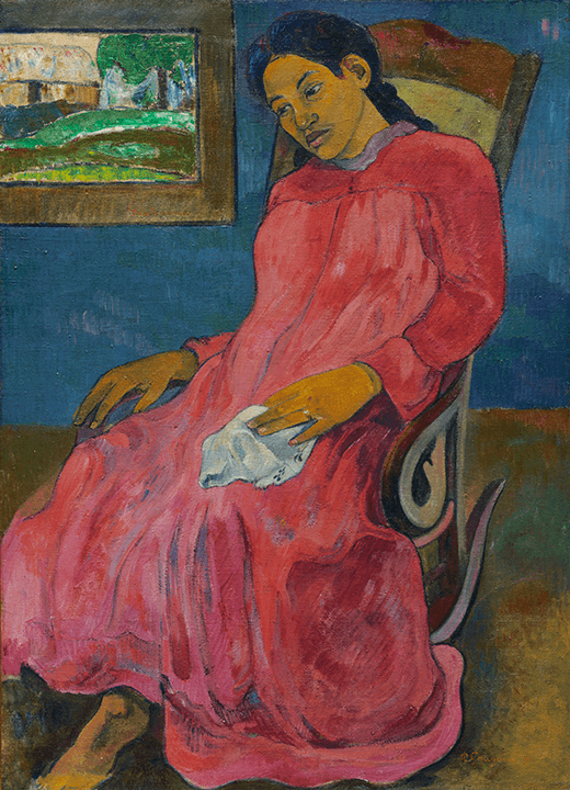 Black-haired woman in red dress seated in a rocking chair; dark-blue background. Painting in upper left.