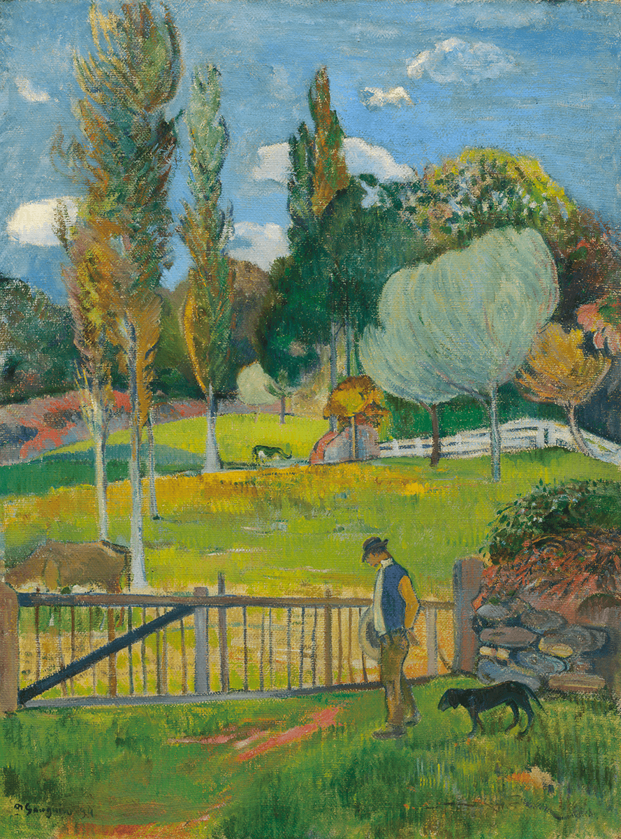A male figure followed by a dog walks in front of a wooden fence and stone wall. Beyond the fence, a pasture spotted with trees cows.