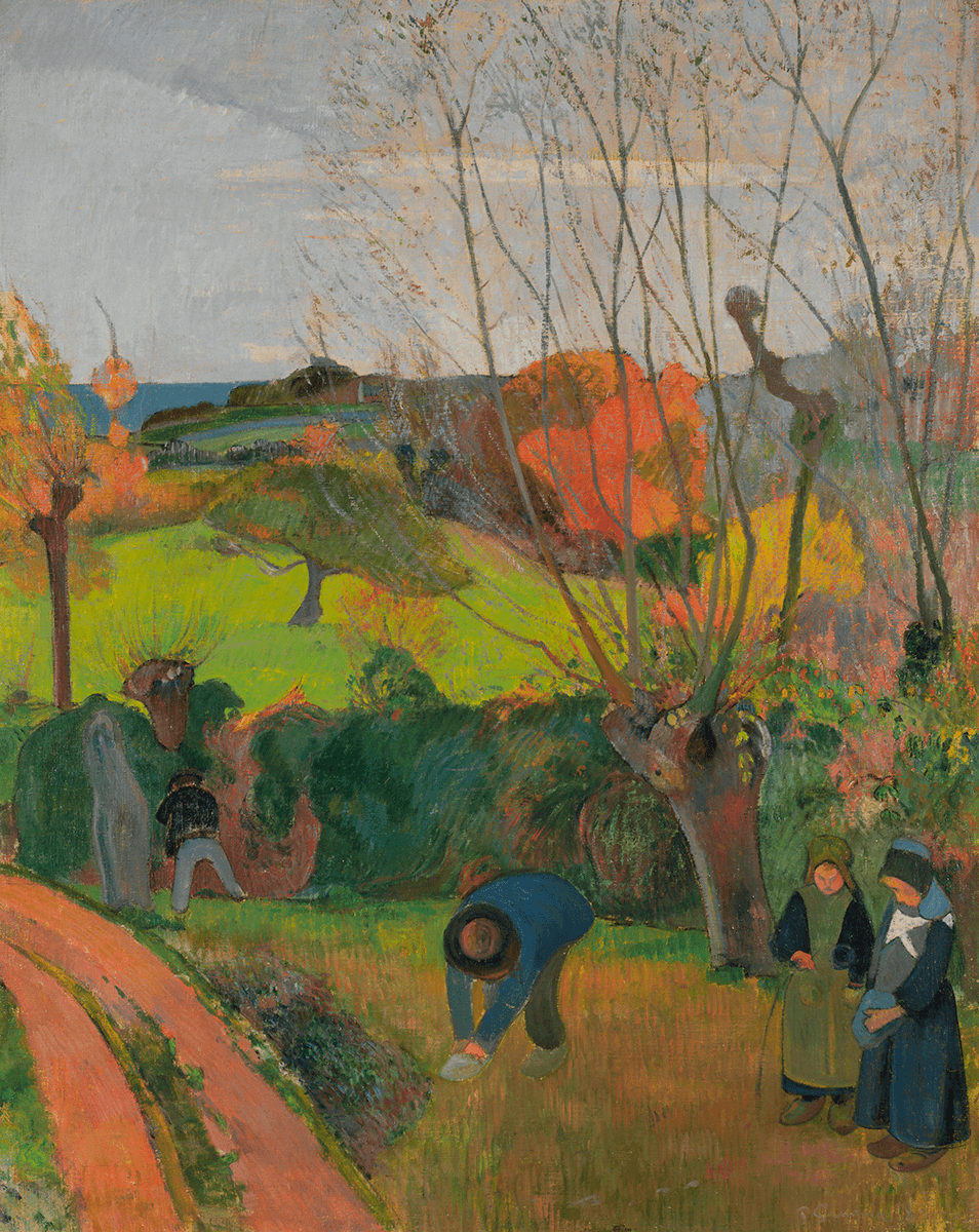 In the foreground, four figures are dressed in distinctive Breton attire in front of a row of hedges. A willow tree extends its bare branches upwards.