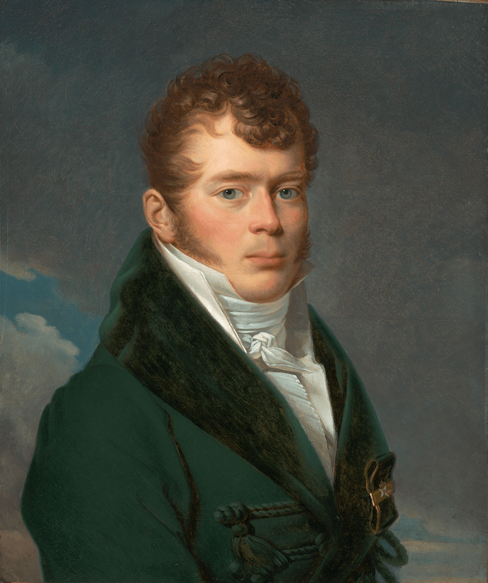 Bust portrait of a man with curly hair and long sideburns, wearing a blue-green coat with white stock.