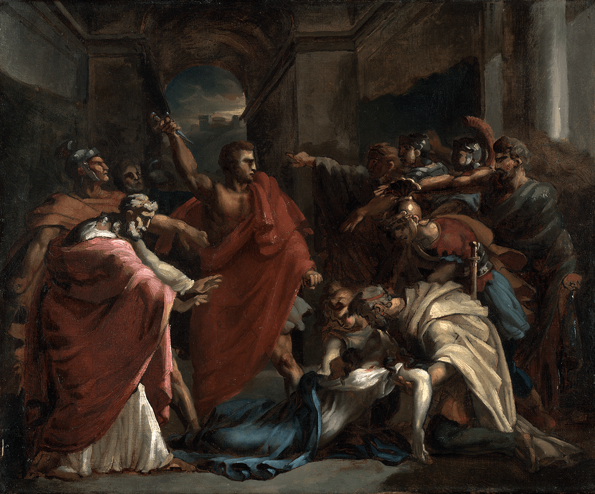A group of men, some dressed as soldiers, encircle a man, dressed in bright red, who raises a dagger; a woman and a man bend over a dead woman.