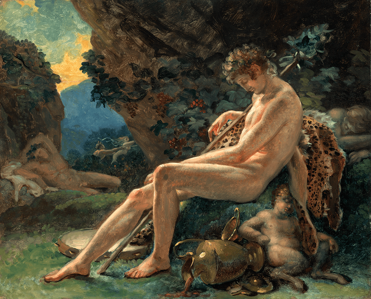 A nude male sleeps on a large rock covered with animal skins. Additional sleeping figures appear in the background among a rock formation.
