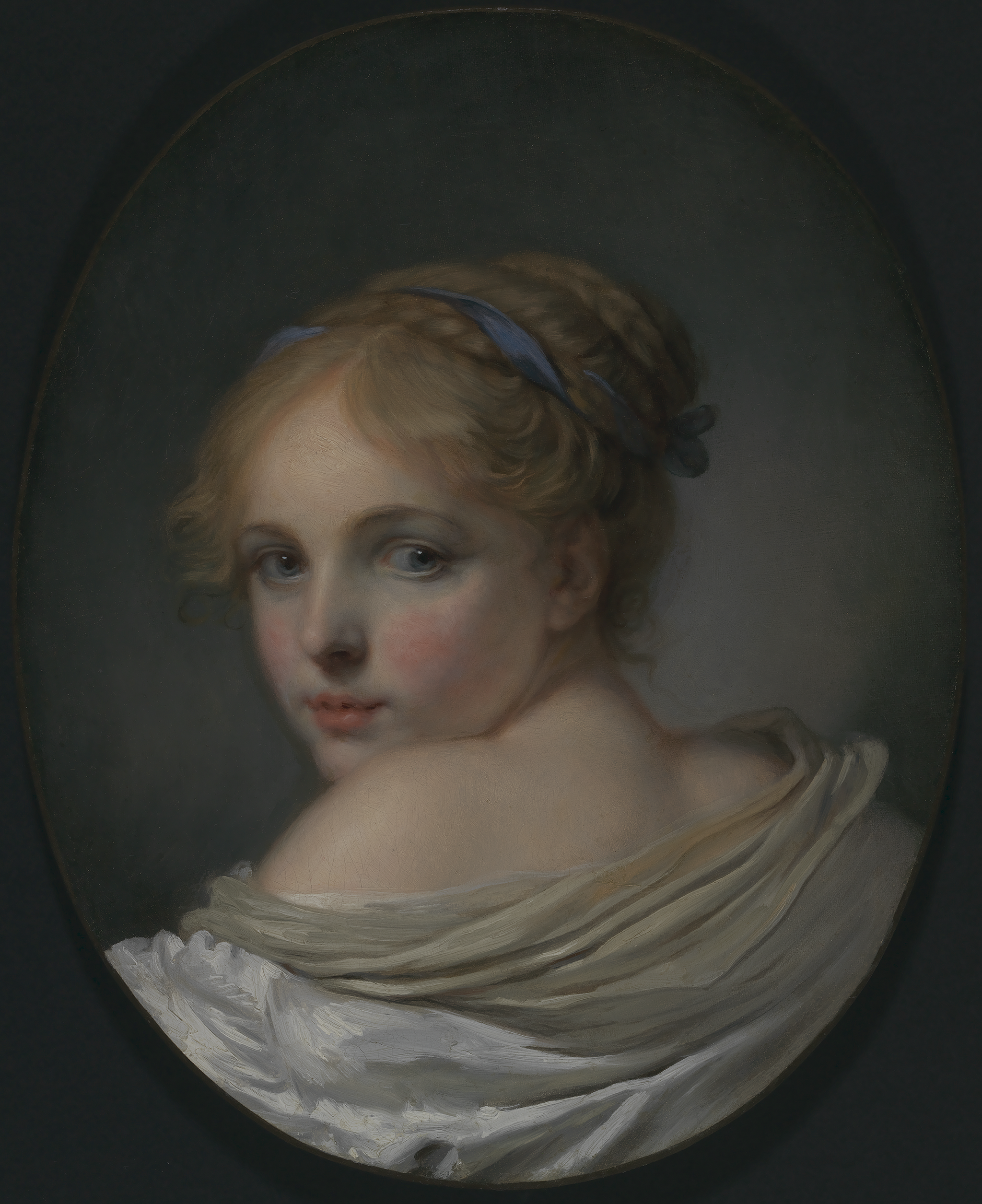 Head of a young girl looking over left shoulder; drapery low on her shoulders.