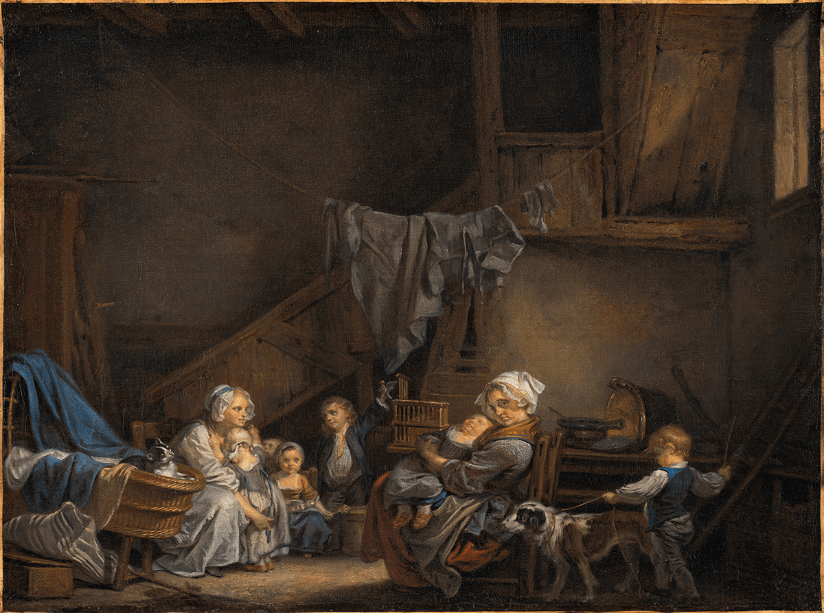 At right, a dog on a leash leads a boy and a woman holds a child. At left is a cat in a cradle behind which a woman with three small children and a boy sit.