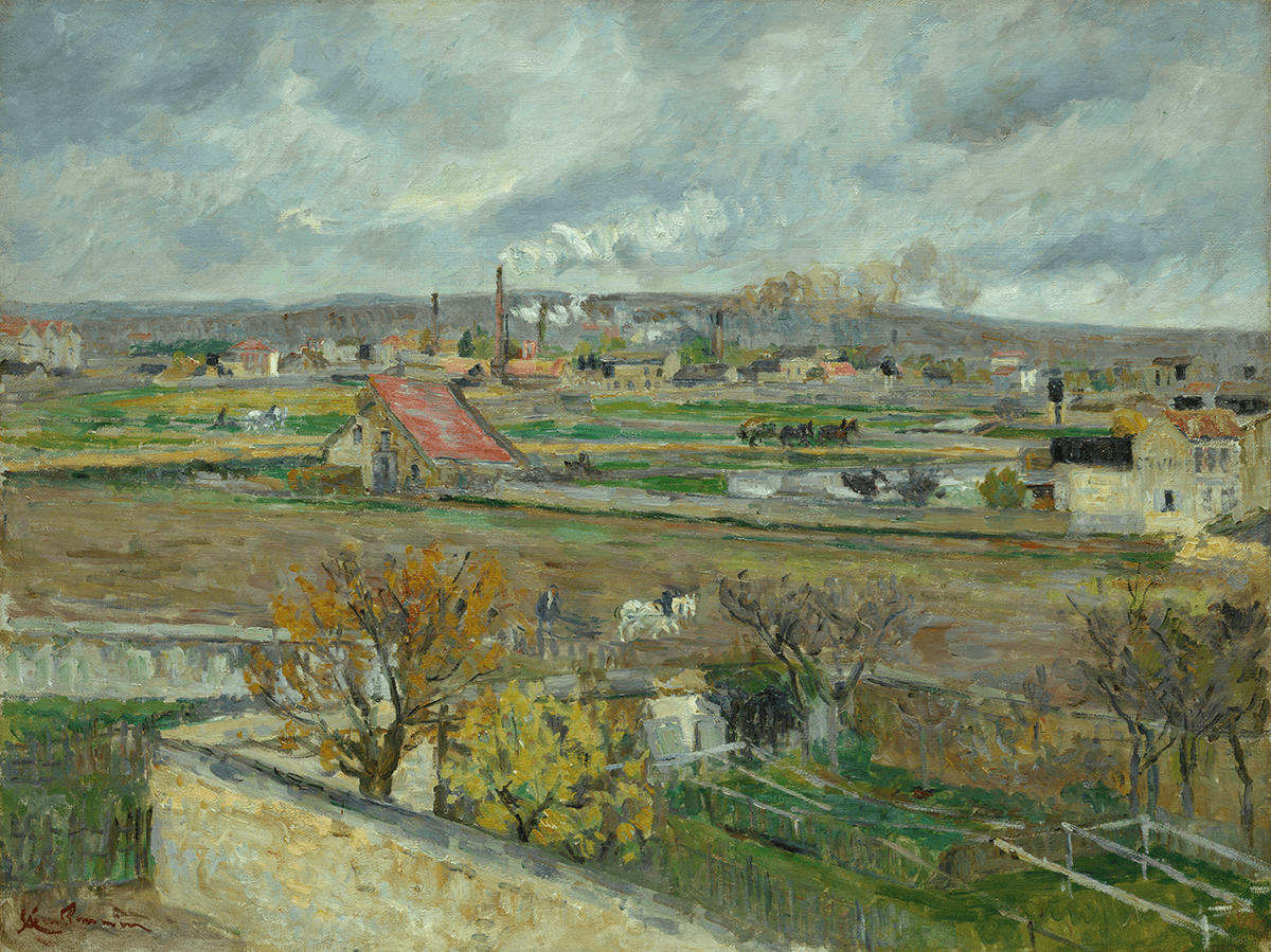 The billowing smokestacks of a distant factory are set against a rural scene of plowmen and their horses.