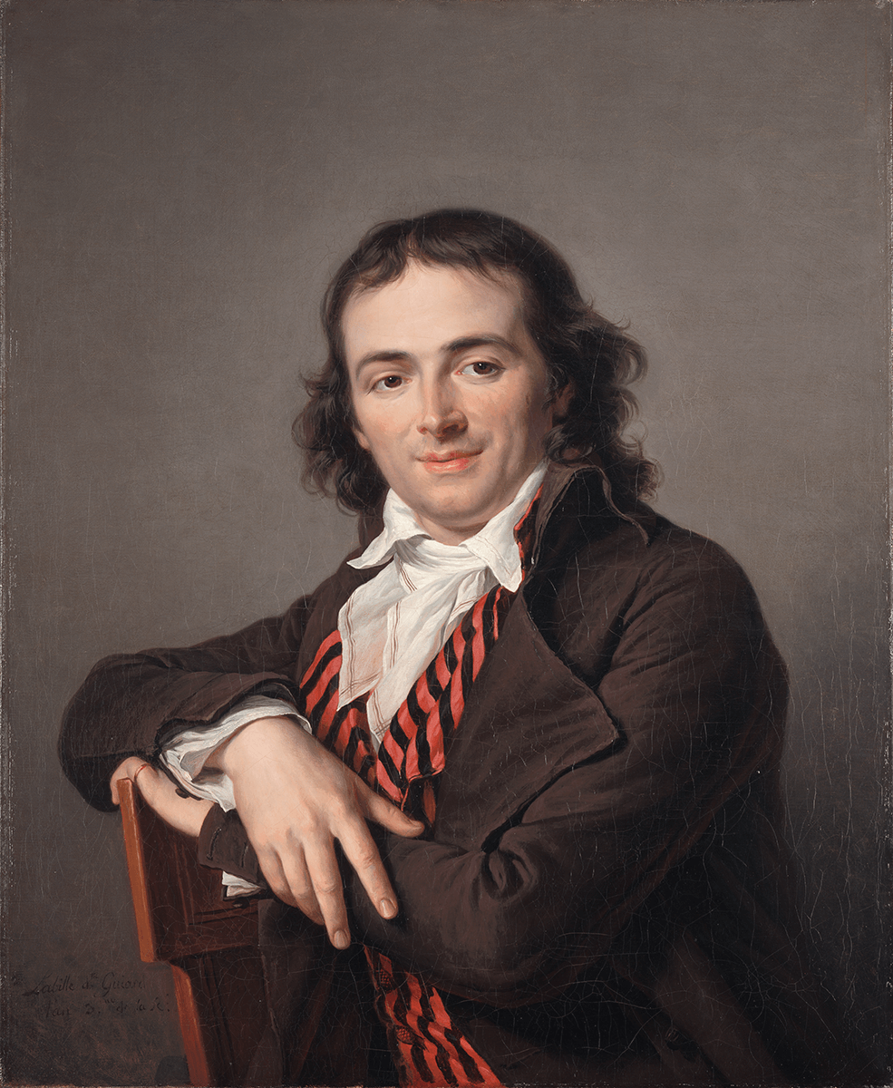 A man seated in a chair against a gray background. He wears a brown coat, a red and black striped waistcoat, a white shirt, and a white neck scarf. The Nelson-Atkins Museum of Art