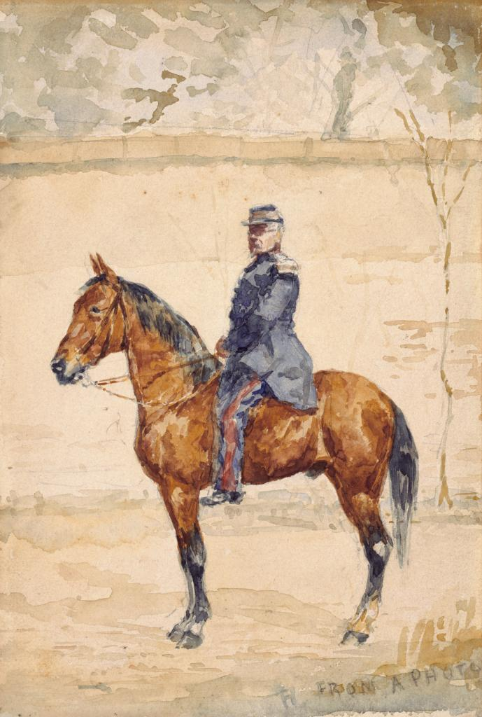 A man in a blue military uniform mounted on a brown horse in left profile stands outdoors in front of a tall stone wall, behind which tree tops can be seen.