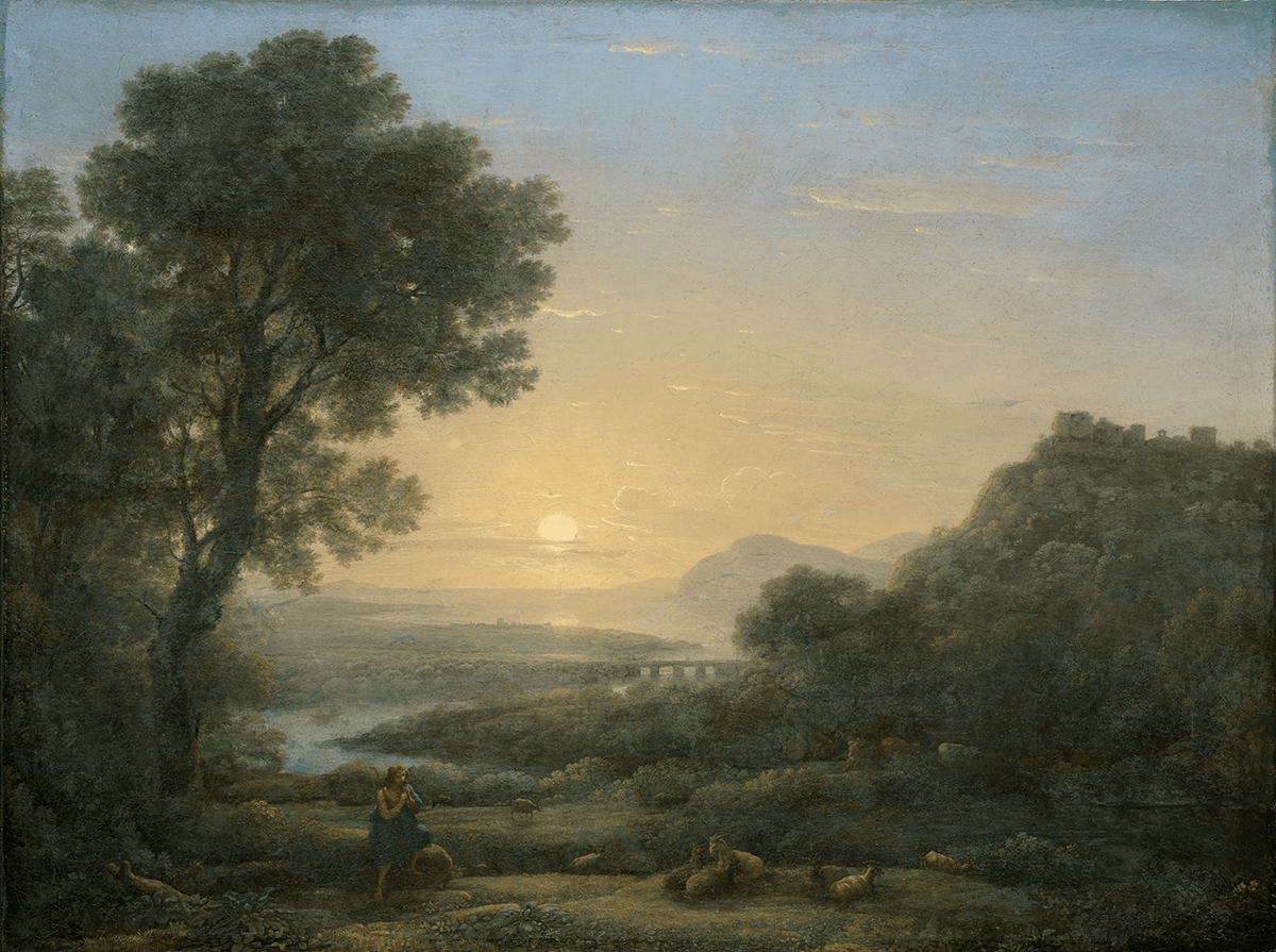 Piping shepherd with flock in landscape of Roman Campagna. The sun is setting in middle of background.