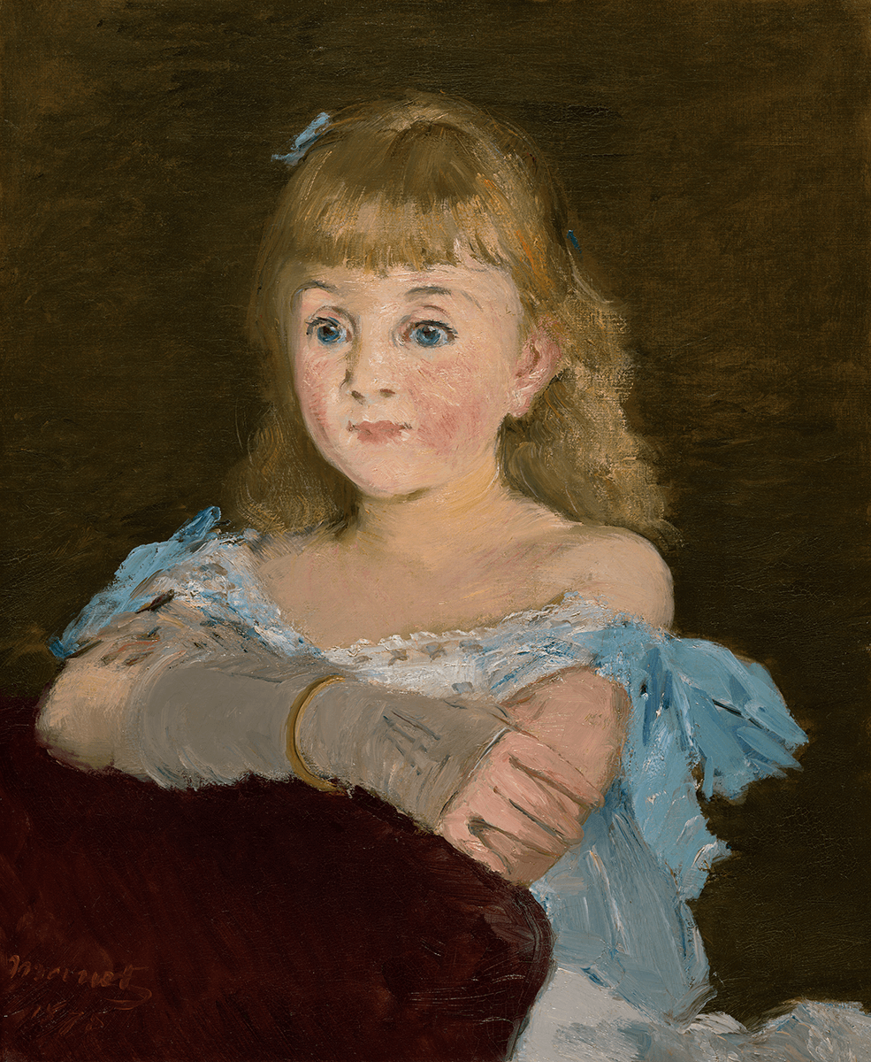 Portrait of a girl with blue eyes and blond hair, dressed in a blue dress and gray gloves. Leaning on the back of a chair with folded arms.