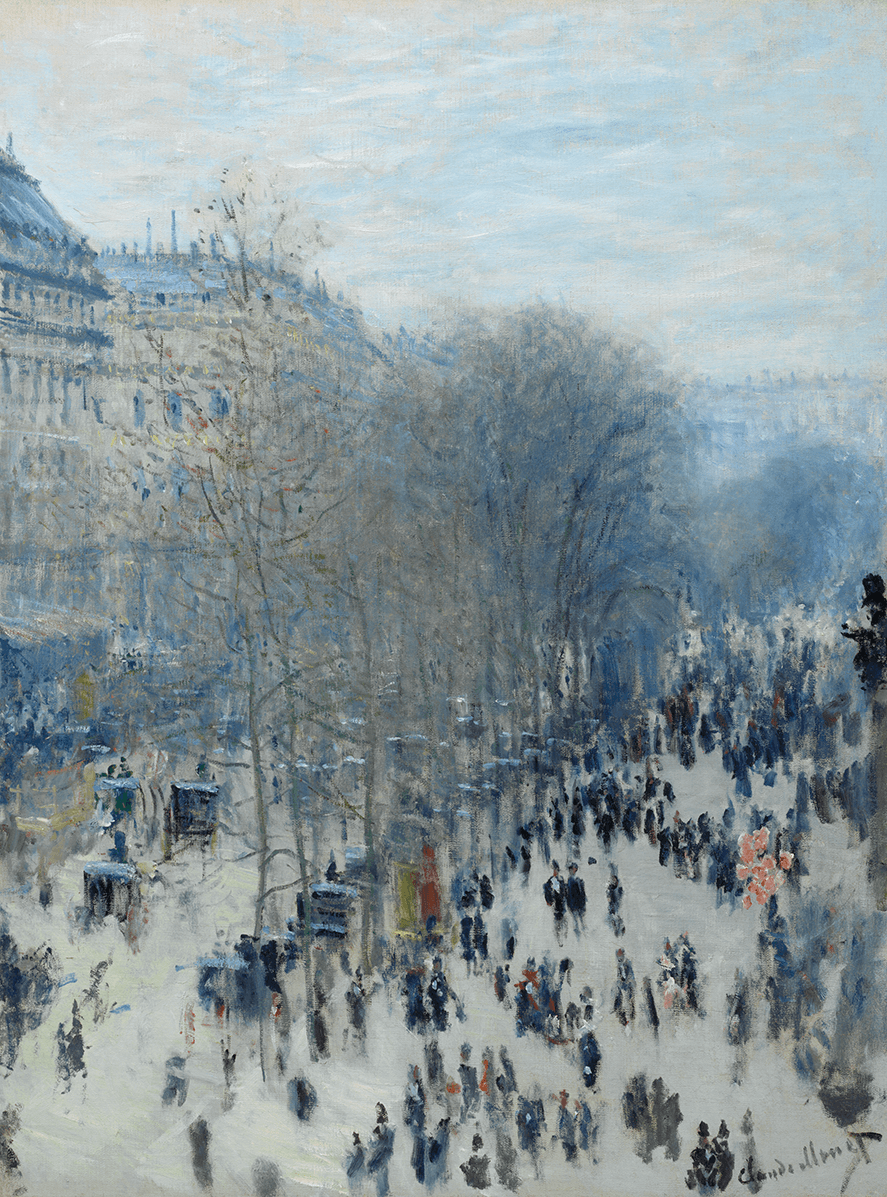 A scene of a boulevard lined with buildings and croweded with figures. A line of trees splits the street in two