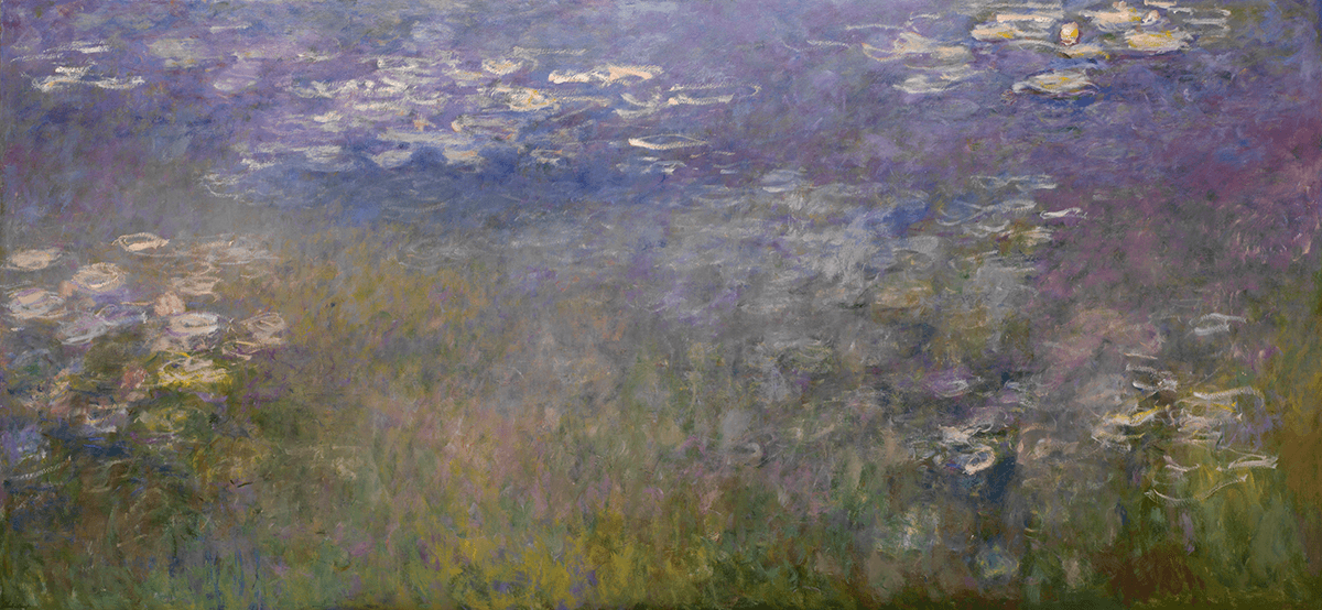 Impressionistic view of a pool with three main groups of waterlilies executed in greens, blues, pinks, purple, and white.