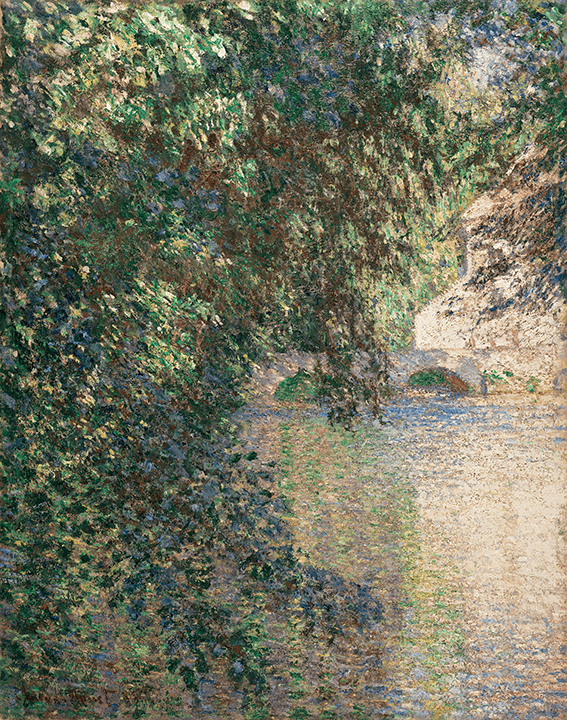 Using a dense application of paint, Monet depicts fleeting reflections on a river's surface as seen through thick branches of a tree at left.
