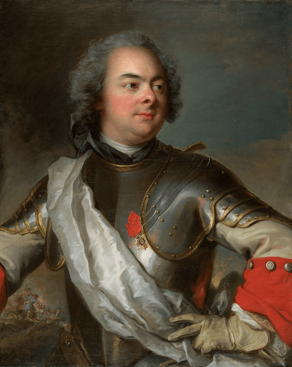 Bust length portrait of a man in a dark gray breastplate turned three-quarters to the right, his left hand on his hip.