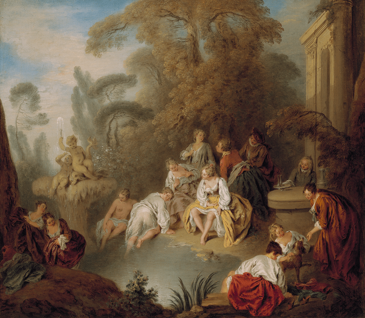 A group of elegantly dressed young people converse and flirt in a lush park setting.