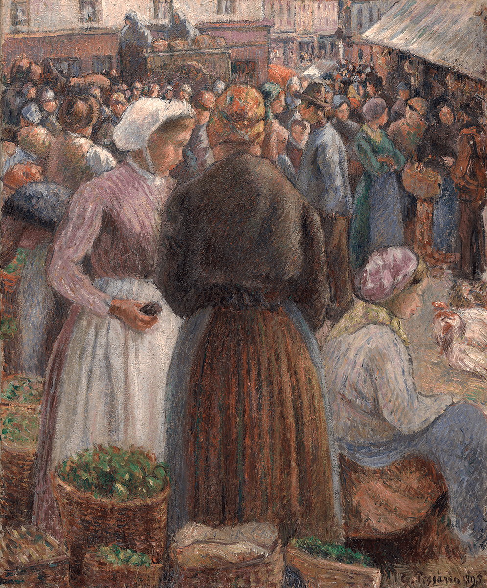 Crowded market scene, two standing women in foreground, seated woman with chickens, baskets of vegetables.