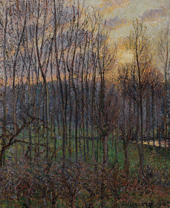 Evening landscape with slender, bare, black trees through which is seen rosy gold sky.