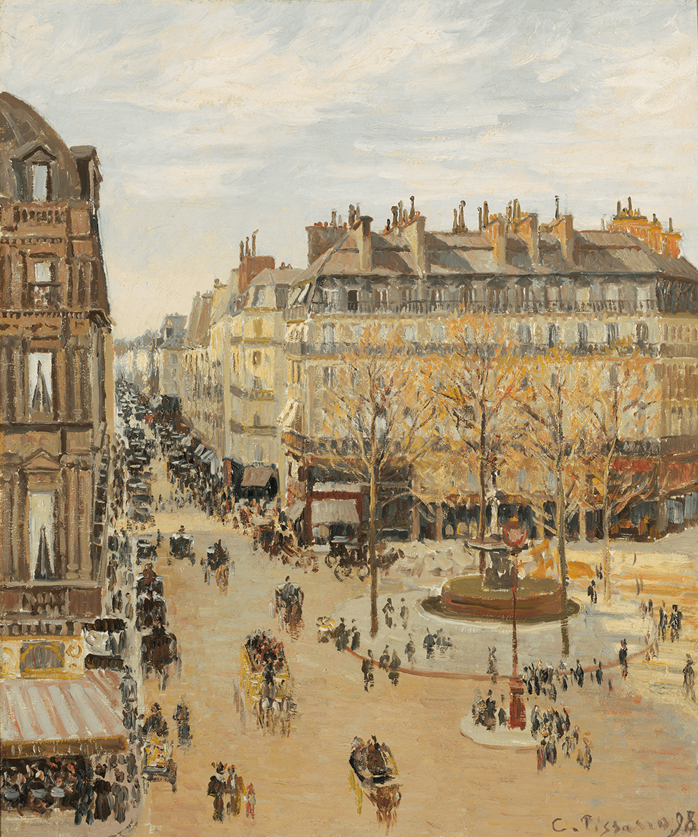A large square at the intersection of two avenues painted from an elevated viewpoint. Clusters of figures and carriages populate the scene.