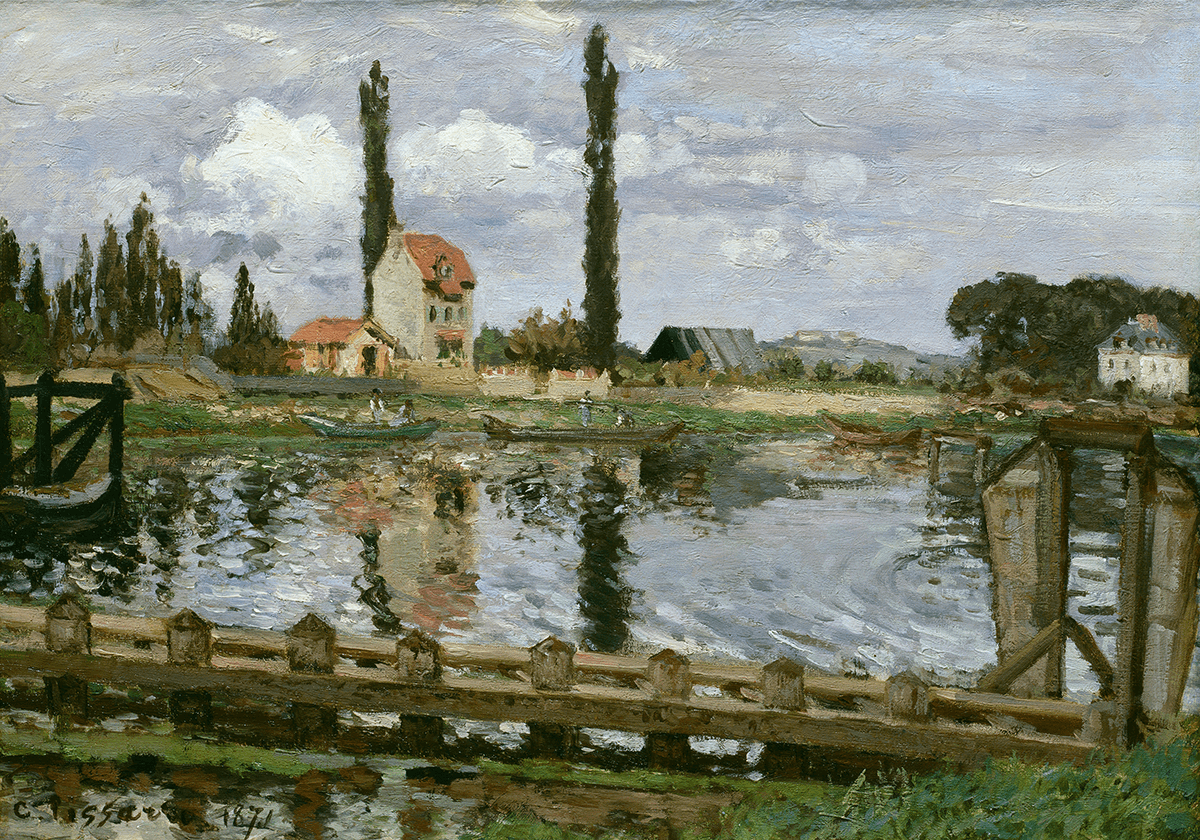 Two banks of a river divided by a waterway. The river cuts horizontally across the composition and the viewer is placed on the nearest bank.