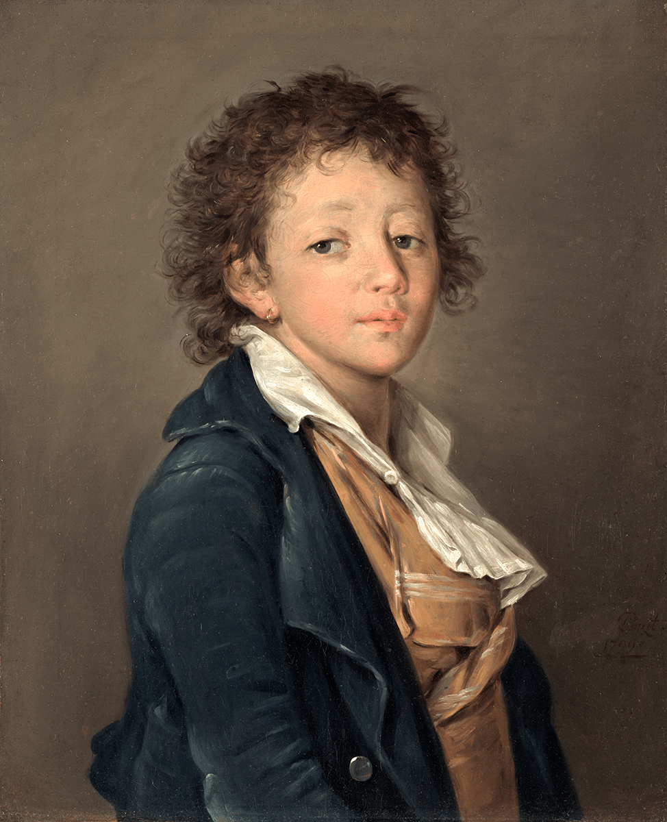 Bust portrait of a young boy with curly hair, wearing an earring and dark blue coat, light brown vest, white shirt and broad collar open at the throat.