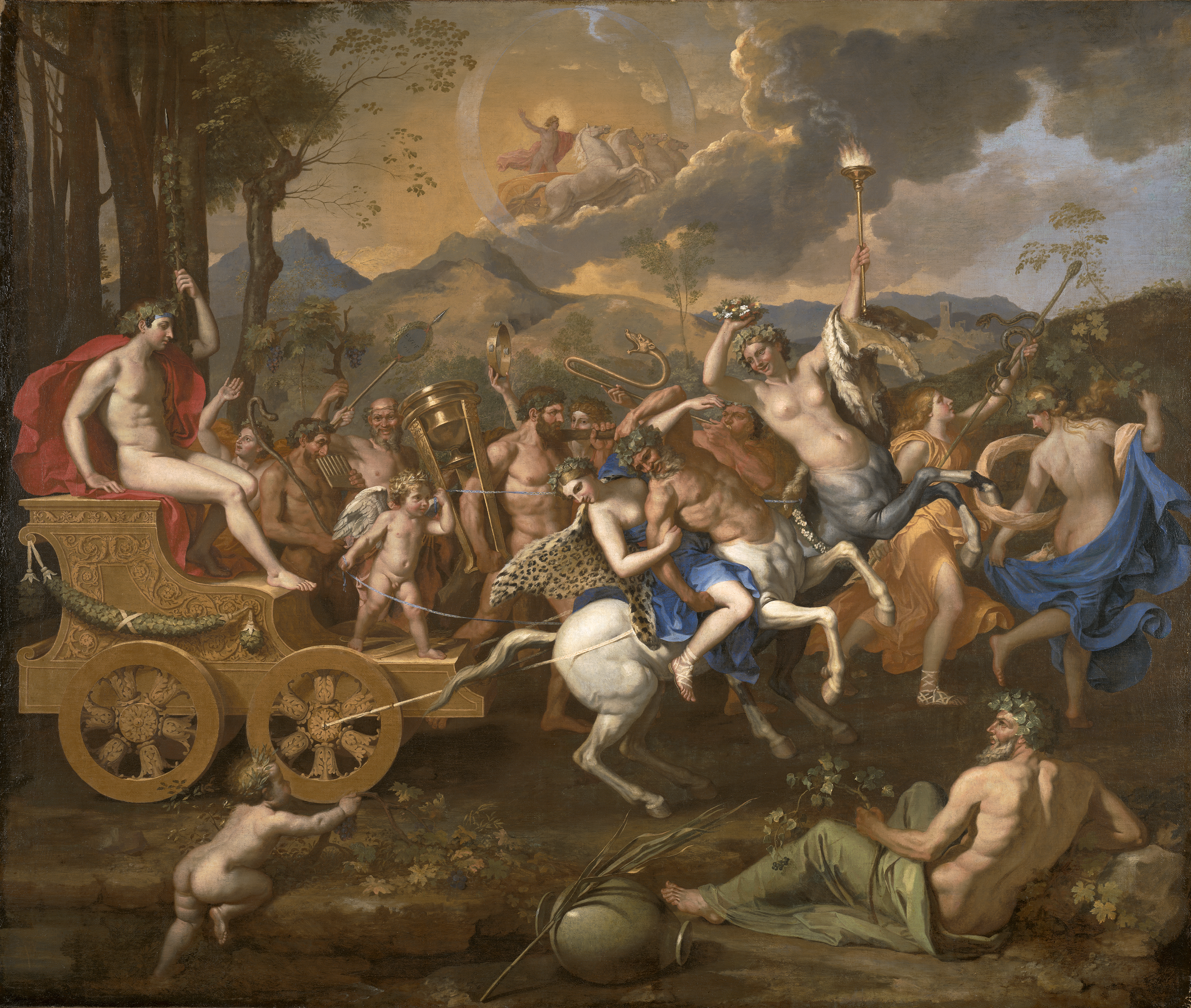 Bacchus on a chariot drawn by centaurs. Behind is a procession in front of mountains, Apollo drives across the sky. A man and child rest in front.