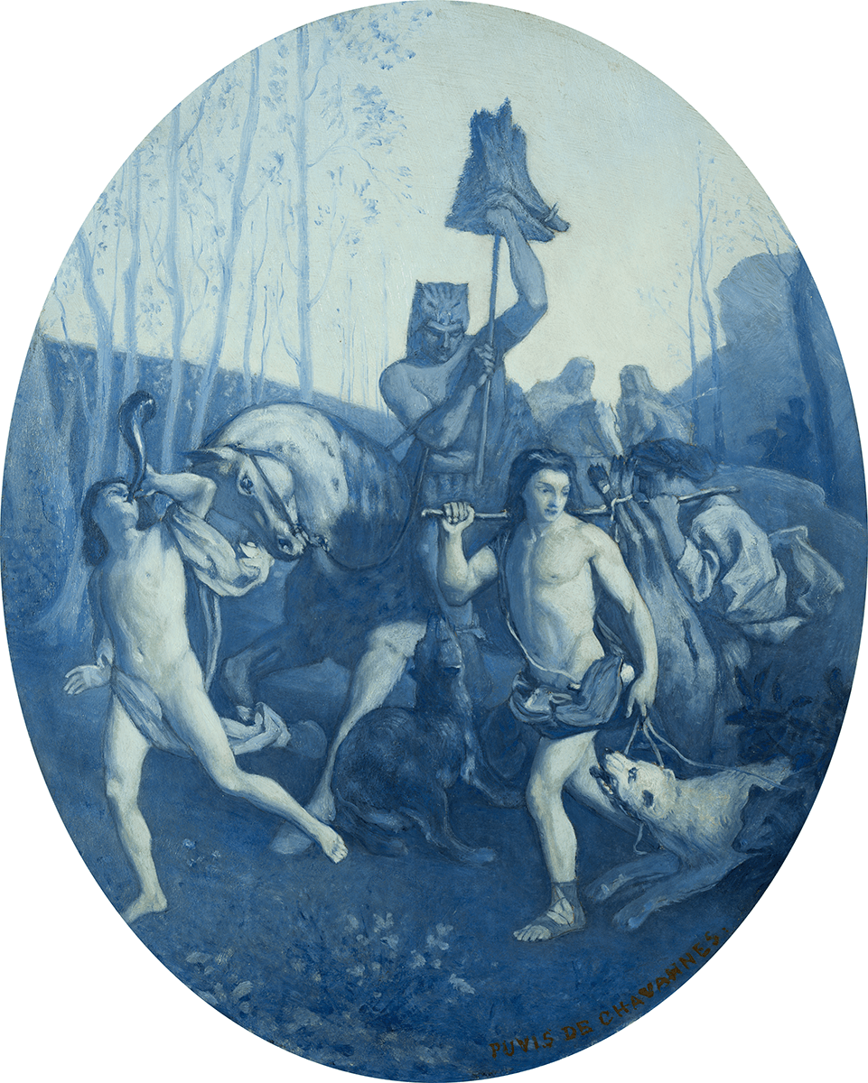 Horseman carrying a boar's head accompanied by runners with dogs, and musical instruments.