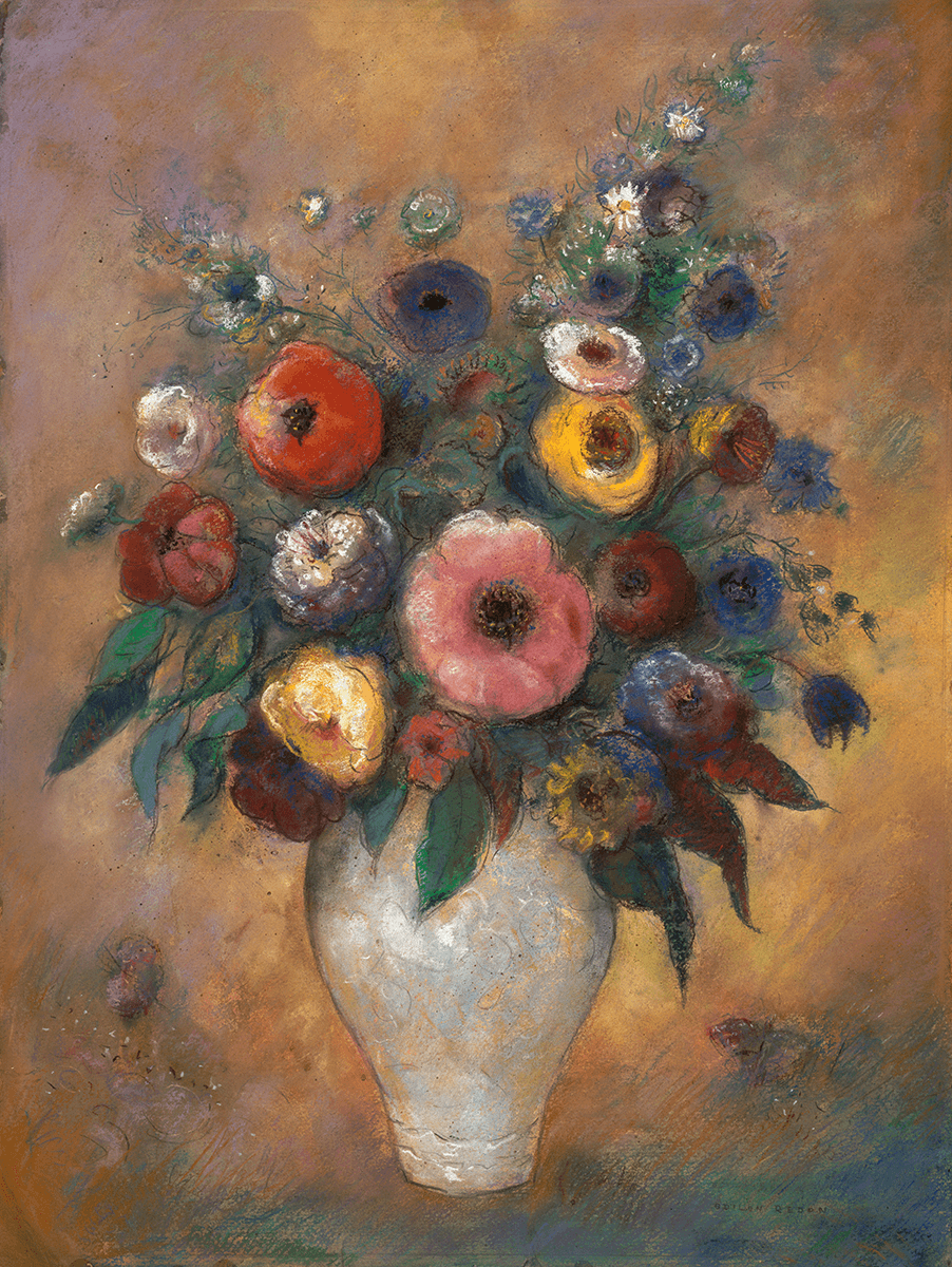 Bouquet of multicolored flowers in a white vase, suspended in background of yellow-orange, shading to bluish at top and bottom.