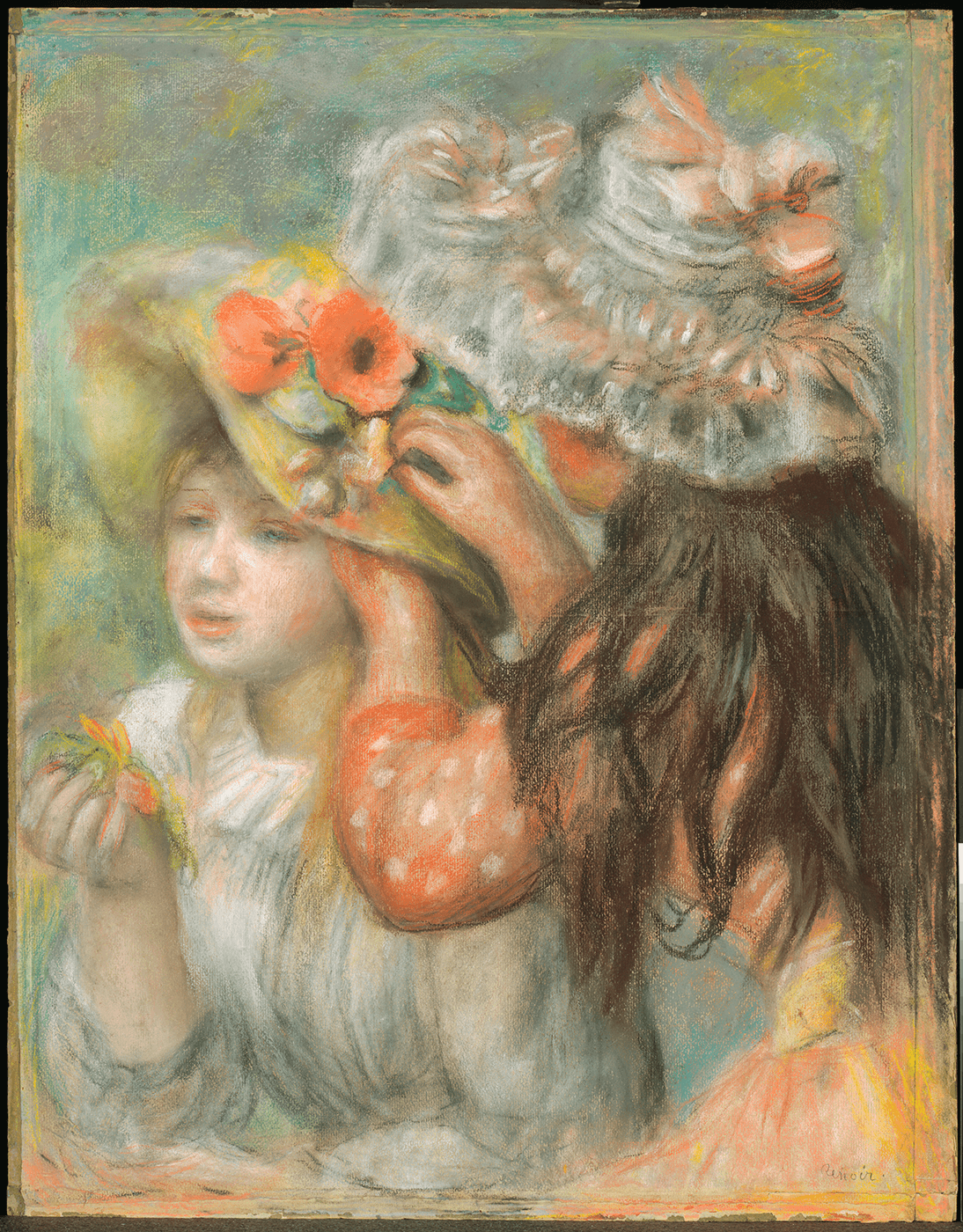 Two girls decorate a hat. On the right is a brunette seen from behind, and on the left is a strawberry blonde girl.