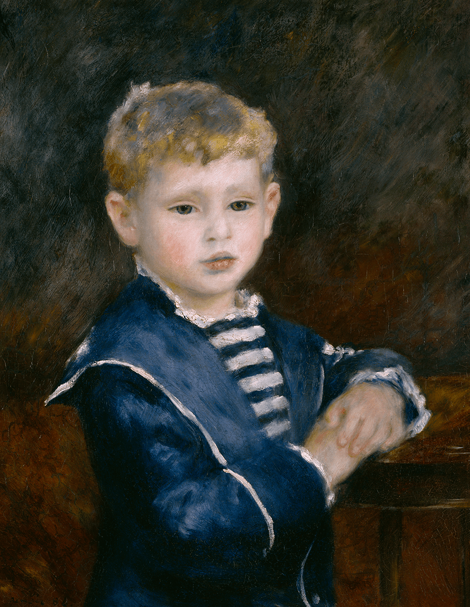 Half-length, full-face portrait of small, standing boy who wears dark blue, sailor suit with white piping, blue-and-white-striped jersey.