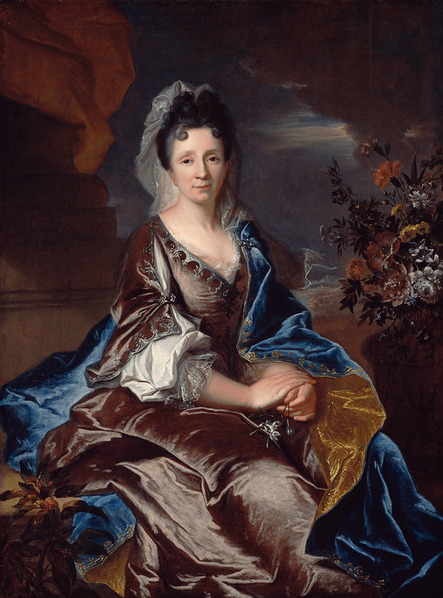 A portrait of a seated woman with a shining rose gown and blue drapery. To her right is an elaborate floral arrangement.
