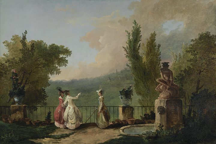 Three female figures stand on a terrace surrounded by trees and flower pots. To their right is a large fountain.