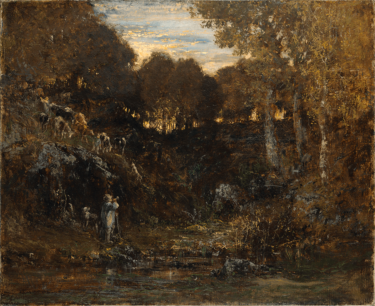 Interior of a forest at sunset, cattle, shepherd and dog at the left, and water in foreground.