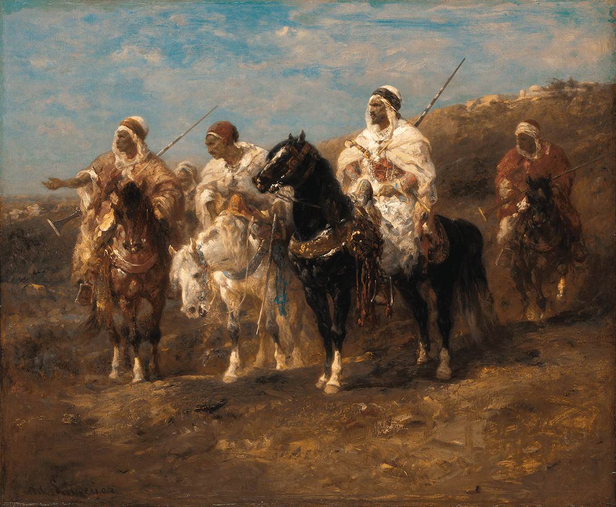 An Arab chieftan mounted on a black horse, two companions on his right, and another approaching from rear. Hill and town in distance.