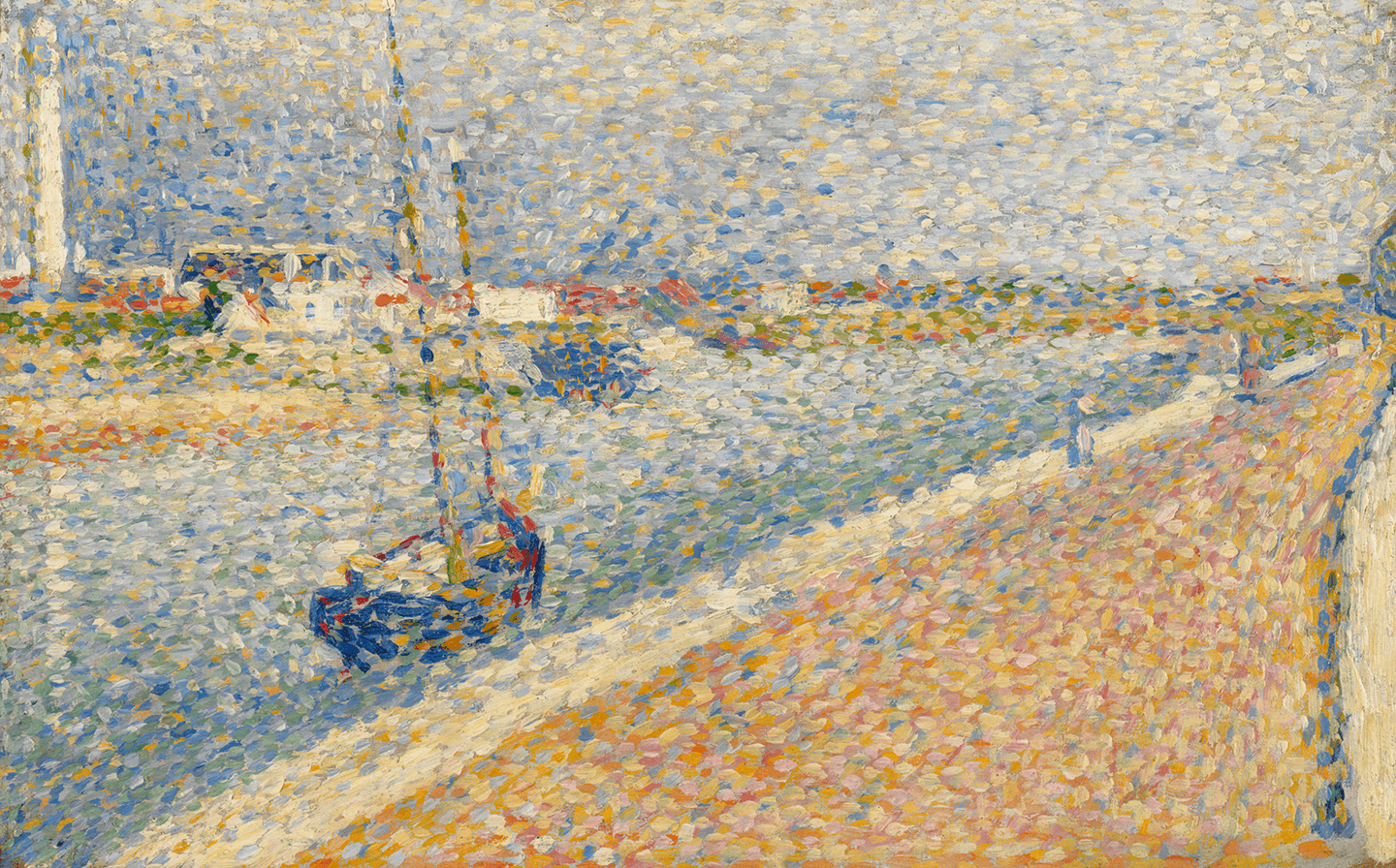 A coastal harbor scene. A dock on the right with a blue boat and the waterway on the left. The background is filled with low buildings and a lighthouse.