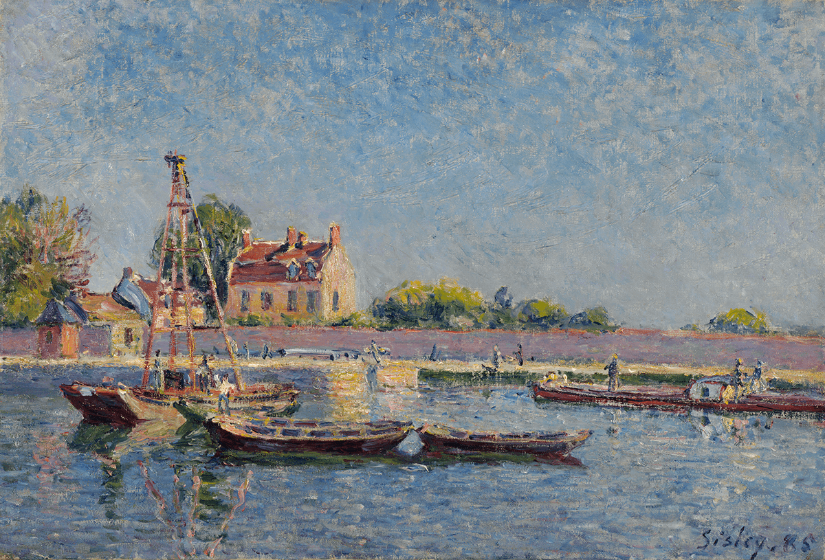 A view of a waterway populated by several barges. The foreground is entirely comprised of water. Small figures are on the boats as well as the shore.